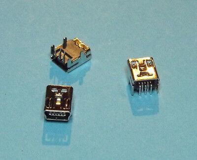 3 X Stecker (3 x USB Typ Mini-B Buchse zum Löten 90° 5-polig Stecker Jack Female )