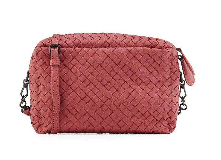 Bottega Veneta Intrecciato Crossbody Camera Shoulder Bag Leather NEW Pink 2040