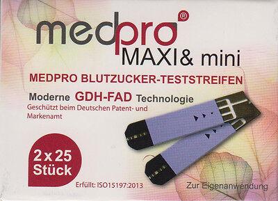 medpro MAXI&mini GDH-FAD Blutzucker-Teststreifen 50 Stück neu+OVP v. med. FHdl.