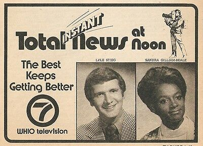 1975 Tv News Ad   Whio In Dayton Ohio With Lyle Steig   Sandra Gilliam Beale