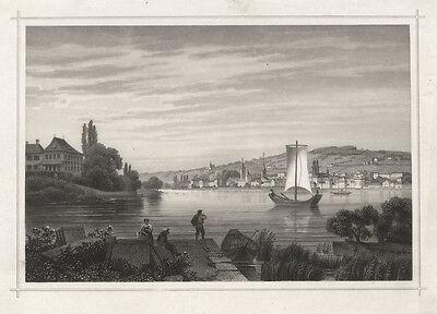 Zürich von der Enge aus.- Stahlstich Kurz/Rohbock, um 1850. - Vor aller Schrift!