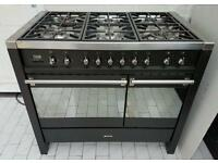 Smeg A2 Dual Fuel Kitchen Range Cooker in Black 100CM