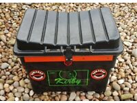 Kirby Black/Red Fishing Seat Box with Strap - Float Holder in Lid