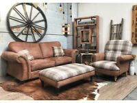 DFS Granby 2 Seater Sofa Suede Brown + Large Footstool & Matching Armchair