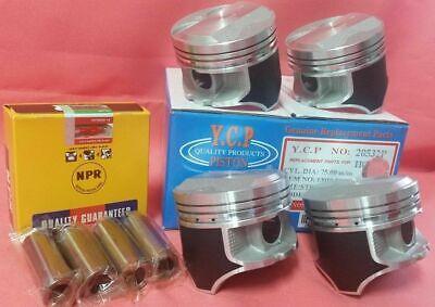YCP P29 75mm STD Teflon Coated Pistons High Compression + NPR Rings Honda D16 Piston Compression Rings