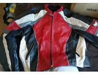 Frank Thomas red kangaroo leather motorcycle jacket and gloves