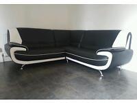 Italian style leather corner sofa