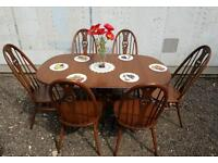 Stunning set of Ercol dining table and chairs