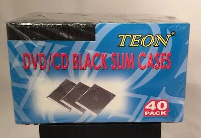 40 Cd Slim Steel Cases (Teon DVD/CD Black Slim Cases 40 Pack, Brand NEW in Original Package )