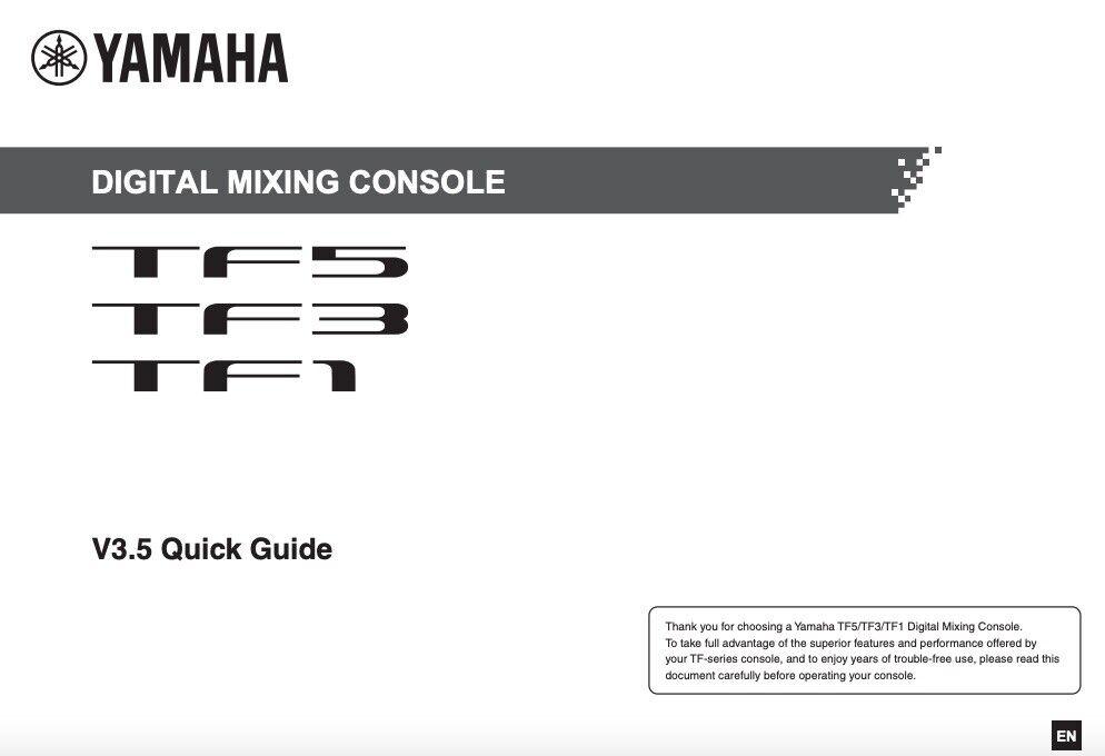 Yamaha TF5 TF3 TF1 REFERENCE MANUAL And QUICK GUIDE - $19.95