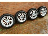 "BMW 16"" 154 style alloy wheels with continental tyres"