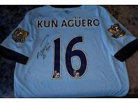 Aguero signed 13/14 champions shirt