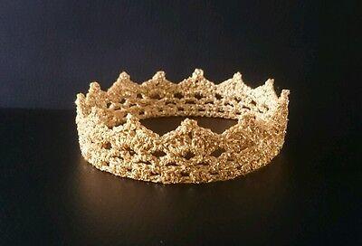 ❤ Baby ❤ Zarte Häkel Krone Prinzessin Fotoshooting **gold**