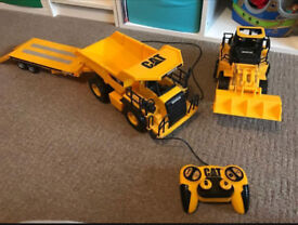 CAT remote control digger and truck with trailer