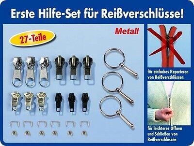 27 Teilig Reißverschluss Reparatur Set inkl. Greifringe Zipper Schieber Metall