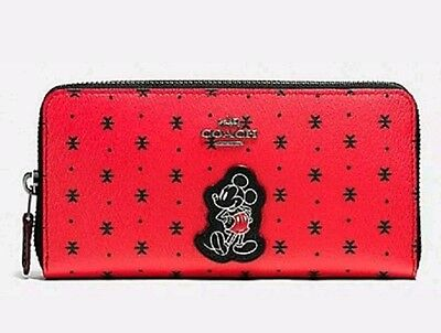 Coach Disney Mickey Prairie Bandana Accordion Zip Around Wallet Red F59728 New