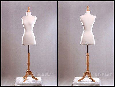 Size 2-4 Female Mannequin Dress Form+ Maple Wood Base  JF-FWPW-4 +  BS-01NX