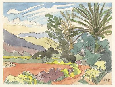 Clara Ege (*1897) : Kreta (evtl. Malia?) - Aquarell