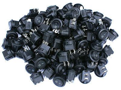 90 Pack 6a 250v 10a 125v Spst Onoff 2 Position Mini Round Rocker Switch 12v