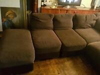 Corner sofa Dark brown sectional and large foot stool