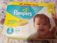 Jumbo pack Pampers size 2 unopened new 68 nappies
