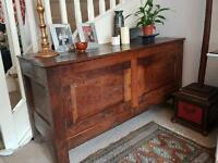 Antique low solid oak sideboard