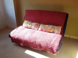 Double futon with navy covered mattress - great condition