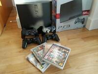 320GB PS3 Slim (Black), 4 controllers, 4 games