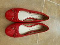 Red flat shoes. Size 8.