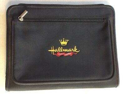 Leeds Hallmark Embroidered Logo Portfolio Black Zippered W 3 Ring Binder