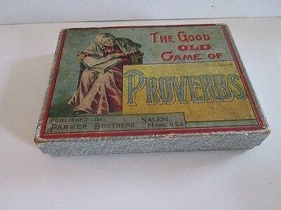 Vintage CARD GAME,Good Old Game of PROVERBS,1893,Parker Bros.,Complete,Orig.Box