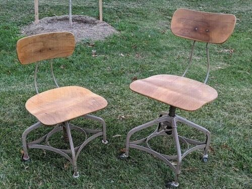 (2) Vintage TOLEDO UHL ART STEEL Drafting Stools adj swivel chair Industrial Era
