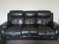 Sofa and chair, dark brown eclectic recliners