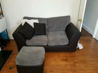 2 SEATER SOFA CHARCOAL AND BLACK WITH OTTOMAN FOOTSTOOL *HOUSE SALE*