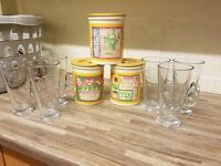 Costa coffee glasses and storage pots