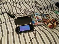 PSP with charger, case and games, fully functional