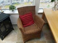 Two Conservatory wicker chairs and coffee table