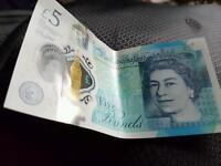 Plastic £5 note bank of England