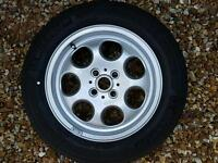 Mini alloy wheels and tyres.