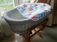 Solid white moses basket with matress - Immaculate condition RRP £90