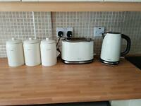 Kitchen Next Cream Kettle, Toaster & Tea, Coffee, Sugar canisters