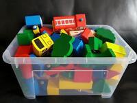 Wooden Blocks, Village, Vehicles & Track