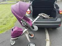 Purple Stokke Xplory & carrycot & winter and summer kit