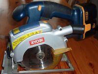 Ryobi One 18V circular saw, jig saw, fluorescent lamp and in car charger