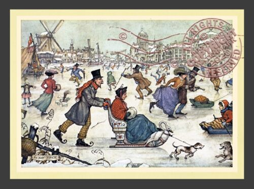 Winter Ice Skating Sled + Family w Dogs * Dutch Village ANTON PIECK * Art Print
