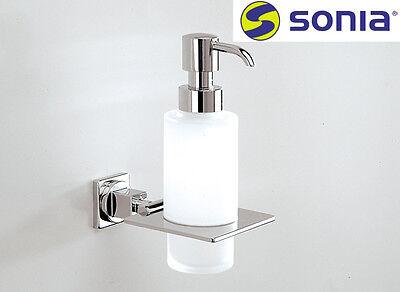 """Sonia """"Dynamic Cuadro"""" 114764 Metal Soap Dispenser w/Frosted Crystal Glass NIB"""