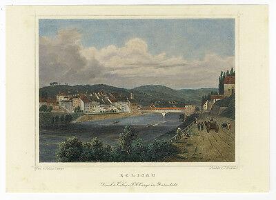 Eglisau (Schweiz) : Kol. Stahlstich von Umbach nach Lange, um 1850