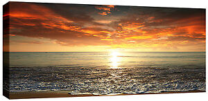 Large-Sunset-Sea-Beach-Canvas-Picture-Wall-Art-113-x-52-cm-chunky-3cm-frame