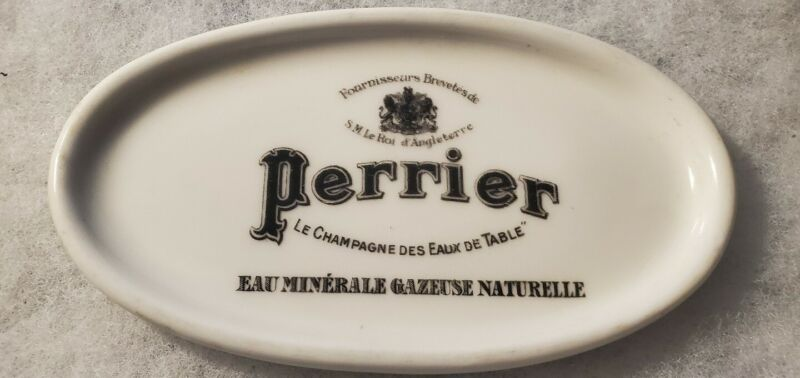 Old Perrier Mineral Water Advertising On Limoges Trinket Dish Change / Ring Tray