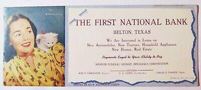 Vintage Advertising Ink Blotter First National Bank Adorable Dozen Series Kit